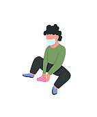Child in medical mask play with toy flat color vector faceless character