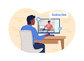Laptop unboxing online 2D vector web banner, poster