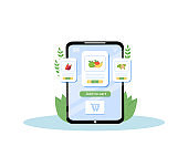 Online grocery mobile application flat concept vector illustration. Fresh fruits and vegetables order, organic produce delivery service. Greengrocery ordering, food store app creative idea