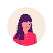 Women trendy icon avatar character. Cheerful, happy people flat vector illustration. Round frame. female portraits, group, team. Adorable girl isolated on white background