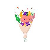Bouquet of spring wild and garden tulip blooming flowers with other decor elements isolated on white background. Flat design. Paper cut style. Hand drawn trendy vector greeting card