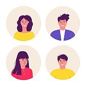 Bundle of different Men and women avatars characters. Cheerful, happy people flat vector illustration set. Round frame. Male and female portraits, group, team. Adorable guys and girls pack.