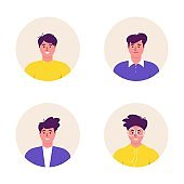 Bundle of different Men avatars characters. Cheerful, happy people flat vector illustration set. Round frame. Male portraits, group, team. Adorable guys pack.