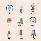 Collection of microphone, headphone, smartphone vector icon for podcast, media hosting. Design template set for recording studio symbol, logo, emblem and label. Voice sign trendy illustration