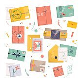 Set of envelopes with stamps. Icon for delivery letter, correspondence through postal service. Hand made gift or present with craft paper letter, ribbon, branches and decor elements. flat vector