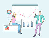 Data analysis concept. People business partners workers analysing financial data and marketing information statistics. Flat vector illustration