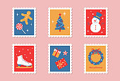set of stamps with Christmas illustrations