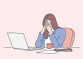 Frustration, depression, fear, business, overworking, deadline concept.