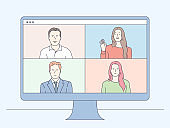 Video conferencing and online communication vector concept. Group of people business parters having distant online meeting conference on laptop. Flat vector illustration