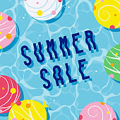 summer vector background with water balloon yo-yos in water for banners, cards, flyers, social media wallpapers, etc.