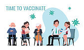 Doctor makes an injection of flu vaccine to men in hospital. Patients are waiting in line. Healthcare, coronavirus, Covid-19, prevention and immunize.