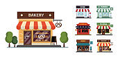 Flat style shop little tiny icon set. Chinese, bakery, pizza, pharmacy, books, store .