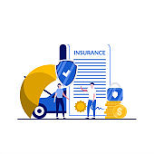 Car insurance concept with character. People stand near document, car, coin, umbrella protection, padlock, shield. Auto insurance policy. Modern flat style for landing page, infographics, hero images.