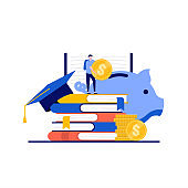 Student loan interest rates concept with character. Student stand near pile of books, graduation hat, stack of coins. Modern flat style for landing page, mobile app, web banner, hero images.
