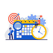 Time management, effective time spending, time planning concept with tiny character and icon. Workflow organization abstract vector illustration set. Teamwork process, deadlines respect metaphor.