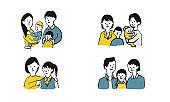 Illustration icon set of asian family