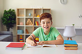 Online school. Smiling boy sitting at desk with notebooks and textbooks, doing homework and looking at camera over room interior background.