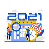 Happy 2021 new year planner concept with teamwork tiny people, clock, calendar and target. Vector illustration for background, greeting card, party invitation card, social media, marketing material.