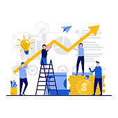 Business teamwork concept with tiny character. People team work increasing profits together with upward pointed arrow flat vector illustration. Analysis, planning, research success solution metaphor.