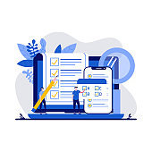 Testing concept with character. People answering quiz checklist and success result abstract vector illustration. Online exam, questionnaire form, online education, survey metaphor.