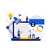 Programming and web design concept with character. Programmer and developers building website. Website optimization and customization. Modern flat illustration for landing page, hero images.