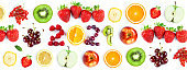 Fruits. New year 2021 made of fruits on the white background. Healthy food. Texture