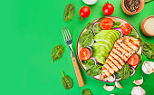 Grilled chicken breast and fresh vegetable salad with spinach leaves, avocado and tomatoes on a green background. Salad of greens with meat. Ketogen diet. Dietary nutrition. Copy space.
