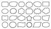 Speech bubble shape text frame box black line set