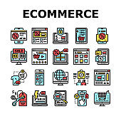 Ecommerce And Online Shopping Icons Set Vector