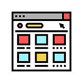 online web shopping color icon vector illustration