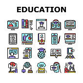 Online Education Book Collection Icons Set Vector