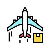 cargo aircraft color icon vector illustration