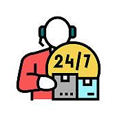 customer delivery service color icon vector illustration