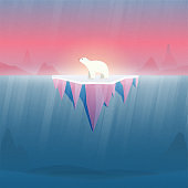 Climate change and Global warming concept.Polar bear on ice.Environment conservation resource sustainable.