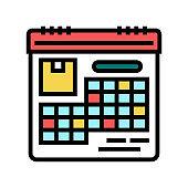 schedule delivery color icon vector illustration
