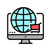 worldwide shopping color icon vector illustration