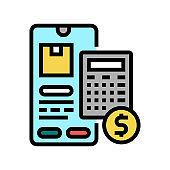 shipping calculator color icon vector illustration