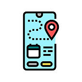 tracking delivery color icon vector illustration
