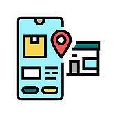pick up location delivery color icon vector illustration
