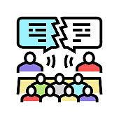 debate candidates color icon vector illustration