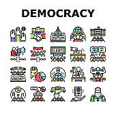 Democracy Government Politic Icons Set Vector