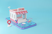 Store on smartphone with shopping online social media application concept, 3d render
