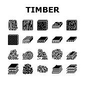 Timber Wood Industrial Production Icons Set Vector