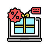 online discount color icon vector illustration