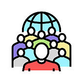 society people color icon vector illustration