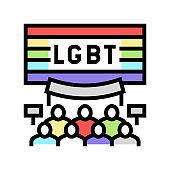lgbt rights color icon vector illustration