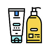 hand cream and lotion packaging color icon vector illustration