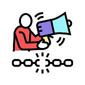 freedom of speech color icon vector illustration