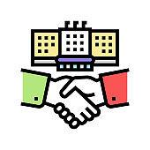 embassy diplomats handshaking color icon vector illustration