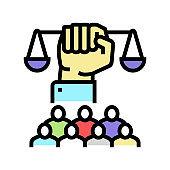 social justice color icon vector illustration